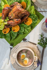 Roasted turkey served with sour soup on spring dinner