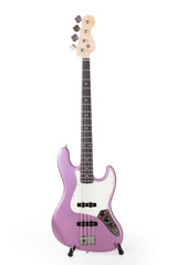Pink bass guitar