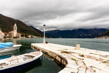 Pier for boat mooring in Prcanj, Montenegro