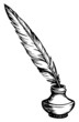 Quill pen in inkpot. Vector sketch - 77696180