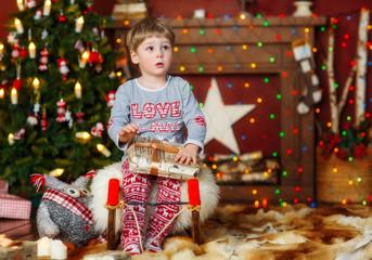 Boy portrait in the christmas studio