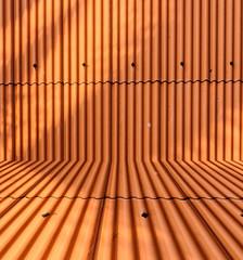 Orange metal sheet roof background