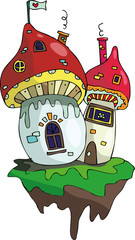 fairy magic play houses mushrooms under the moon and stars