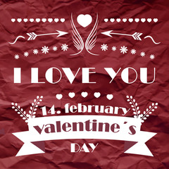 Valentines day retro vector background with ornate elements