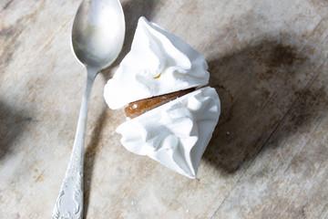 White meringue and spoon