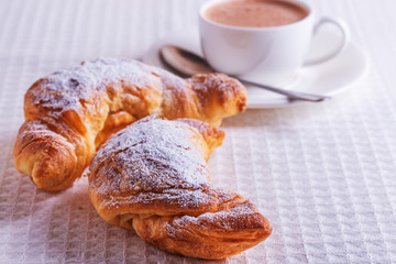 Croissants with hot chocolate