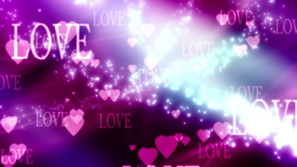 Love Hearts and Particles Looping Valentines Day Animation