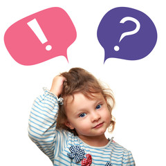 Thinking cute small kid girl with question and exclamation signs