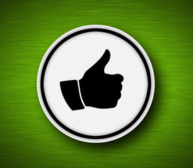 Thumb up icon with metalic background