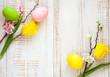 Obrazy na płótnie, fototapety, zdjęcia, fotoobrazy drukowane : easter eggs and  spring flowers