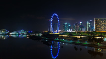 night light singapore downtown panorama 4k time lapse