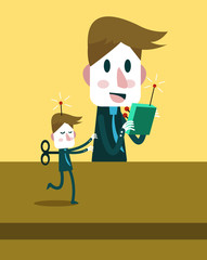 Boss control businessman by remote. flat vector illustration