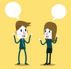 Two business people talking and discussing. vector illustration