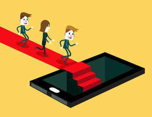 Group of people running on red carpet to inside smartphone.