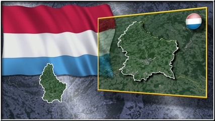 Luxembourg flag and map animation