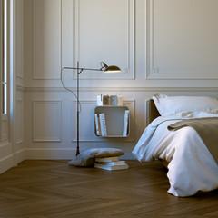 bett in Altbau mit Stuck - classic style bedroom