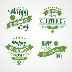 Happy Saint Patrick's Day Card. Typographic With Ornaments
