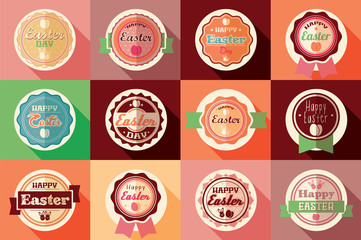 Collection of vintage retro Easter labels, stickers