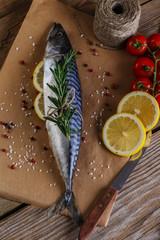 raw mackerel with lemon tomatoes and rosemary