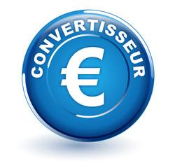 convertisseur euro sur bouton bleu