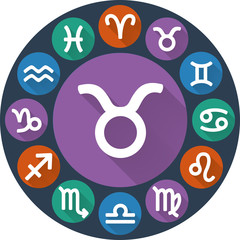 Signs of the zodiac circle - Taurus. Astrological flat icon