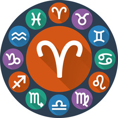 Signs of the zodiac circle - Aries. Astrological flat icon