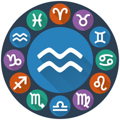 Signs of the zodiac circle - Aquarius. Astrological flat icon
