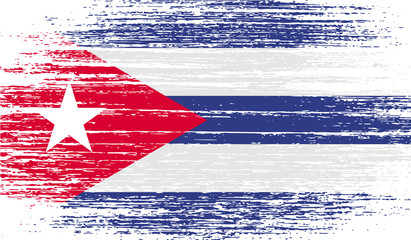 Flag of Cuba with old texture. Vector
