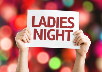 Ladies Night card with colorful background