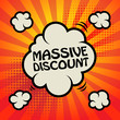 Comic explosion with text Massive Discount, vector