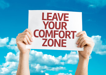 Leave Your Comfort Zone card with sky background