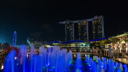 night light famous singapore hotel music fountain 4k time lapse