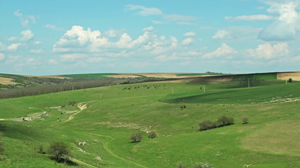 Time lapse with moving Clouds over agriculture green pastures