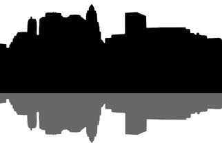 Lower Manhattan silhouette on white background
