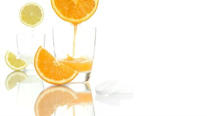 vitamin c concept orange lemon juice aspirin tablet