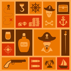 vector pirate background, set icons, treasure, map,skull