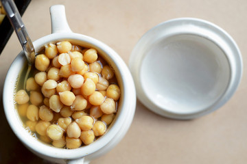Cooked Chickpeas in a Pot