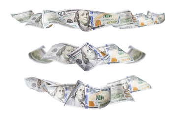 Set of Three One Hundred Dollar Bill Horizontal Graphic Photos
