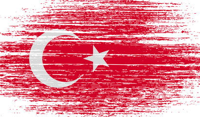 Flag of Turkey with old texture. Vector