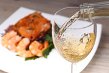 Pouring white wine and background - 77706724