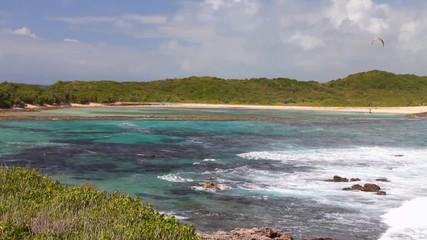 Sea waves running on shoal. Anse de Shatto, Guadeloupe
