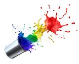 Farbdose mit Splash