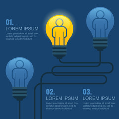 Creative light bulb with people, business, social, strategy, con
