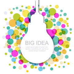 Light bulb silhouette with colorful circles. Vector illustration