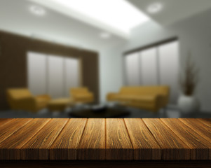 Wooden table with room interior in background