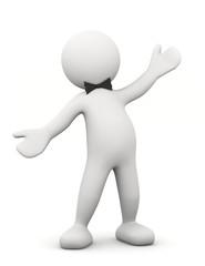 omino bianco con braccia aperte e papillon