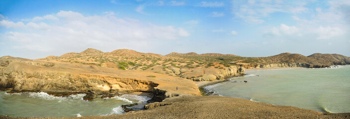 Huge Panoramic View of Guajira Desert at Colombia. Traveling.