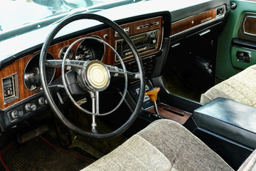 Interior of old vintage car