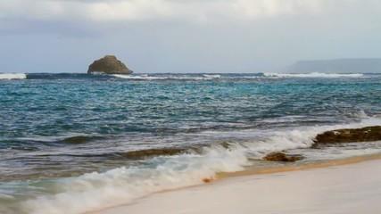 Sea waves running on coast. Anse de Shatto, Guadeloupe