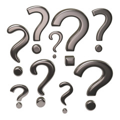 Silver question marks signs